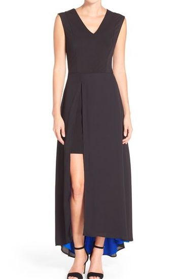 ECI Overlay Drape Maxi Dress
