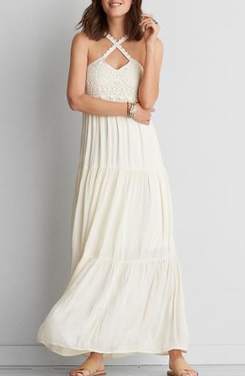 AEO CROCHET WHITE MAXI DRESS