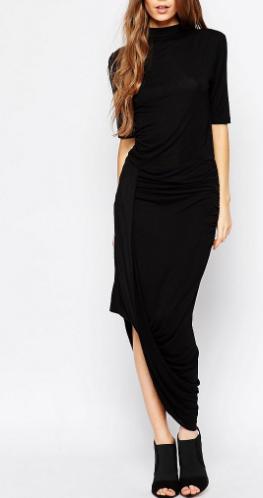 Selected Drape Maxi Dress in Black