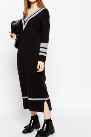 ASOS Maxi Dress in Knit with Cricket Detail