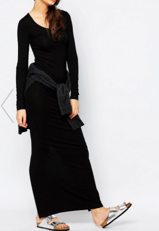 TTYA Long Sleeve Maxi Dress With Back Split