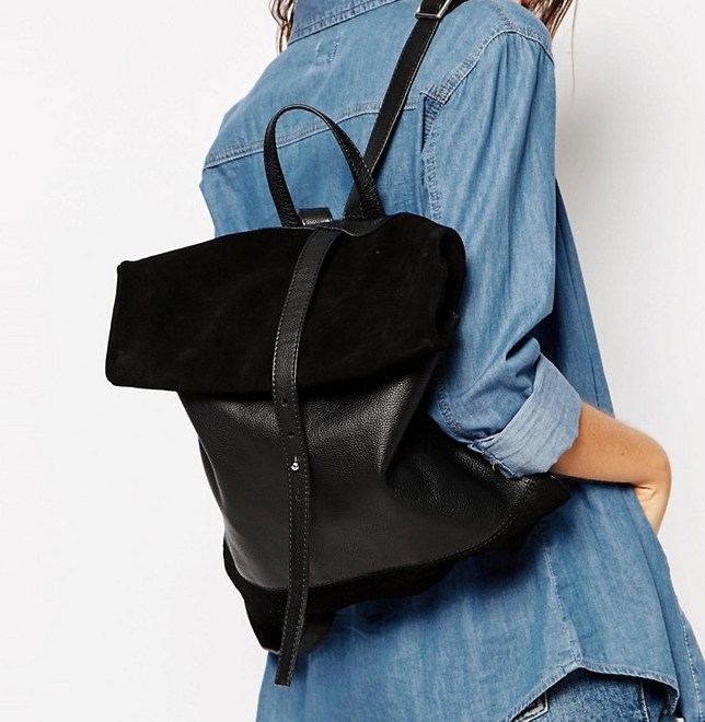 ASOS Suede And Leather Roll Top Backpack