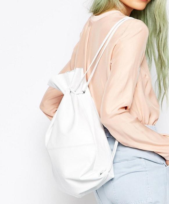 ASOS Leather Drawstring Backpack