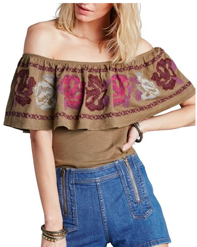 Free People 'To the Left' Embroidered Off the Shoulder Top