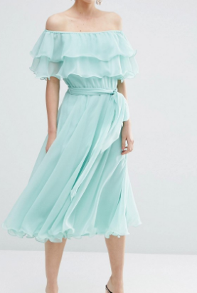 ASOS Bardot Off The Shoulder Multi Ruffle Midi Prom Dress