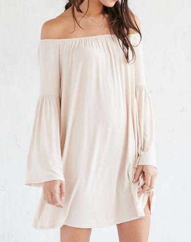 Ecote Knit Off-The-Shoulder Bell-Sleeve Frock Dress