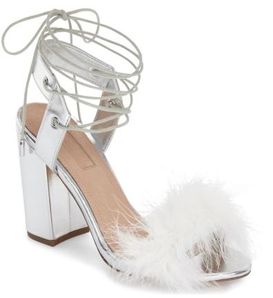 Topshop Marabou Feather Lace-Up Sandal