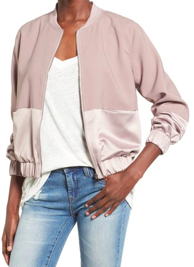 MISSGUIDED Satin & Faux Suede Bomber Jacket