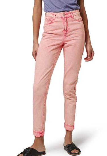 Topshop Pink Acid Wash High Rise Jeans