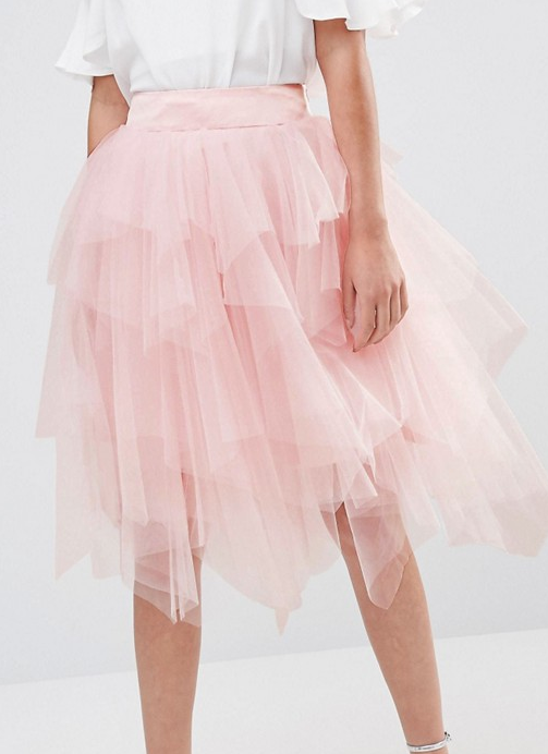 Chi Chi London Tulle Midi Skirt in Layers