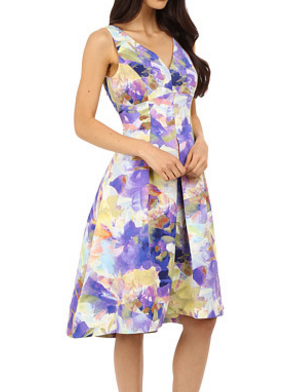 Maggy London Rainbow Haze Floral Faille Fit and Flare