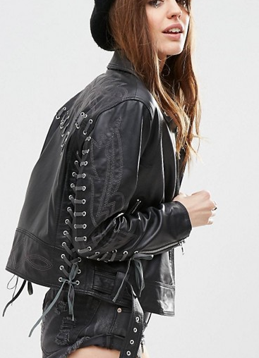 ASOS Leather Biker with Stitch and Lace up Detail