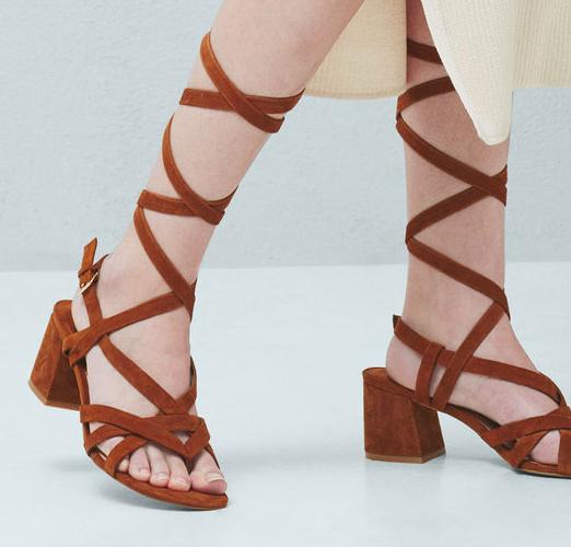 Mango Leather straps sandal