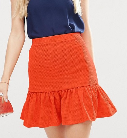 ASOS Mini Skirt with Pep Hem in Texture