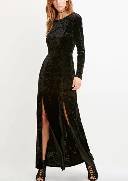 Contemporary Crushed Velvet Maxi Dress