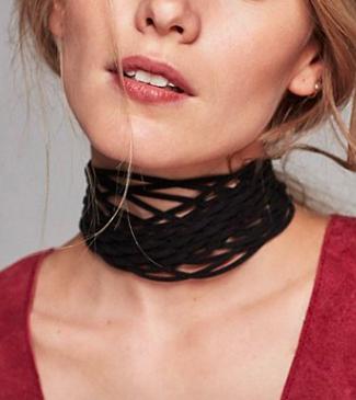 Leather Net Choker