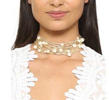 Juliet & Company Floating Imitation Pearl Choker Necklace
