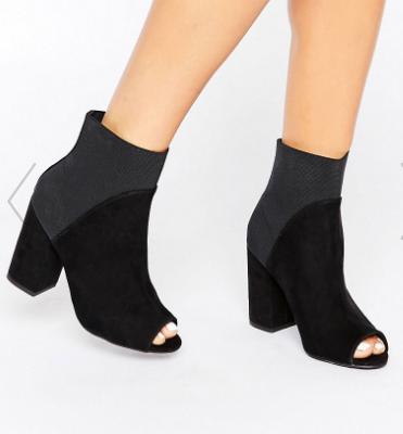 New Look Suede Peep Toe Ankle Sock Boot