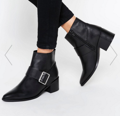 ASOS RALLY Leather Buckle Ankle Boots
