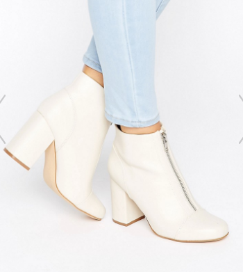 New Look Zip Front Leather Look Ankle Boot