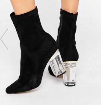 Public Desire Ema Black Clear Heeled Ankle Boots