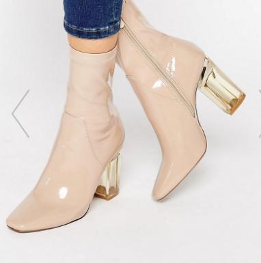Public Desire Beige Clear Heel Ankle Boots