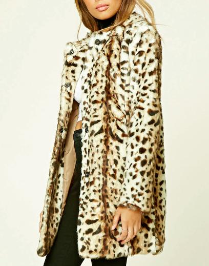 TWELVE Faux Leopard Fur Coat