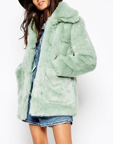 ASOS Coat in Pastel Faux Fur