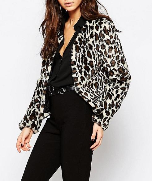 Helene Berman Leopard Chubby Faux Fur Coat