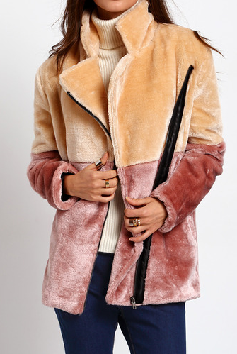 Apricot Brown Long Sleeve Lapel Faux Fur Coat