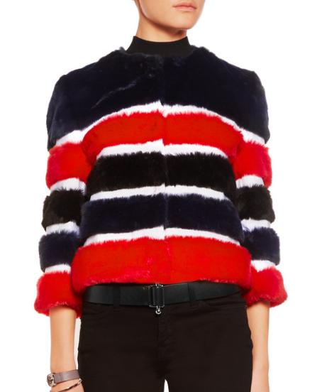 AINEA Grosgrain-paneled faux fur jacket