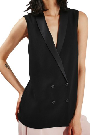 Topshop Sleeveless Double Breasted Slouch Jacket