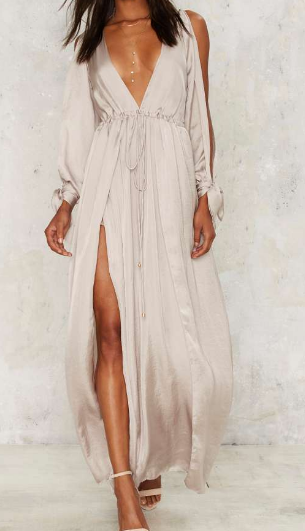 Bea Satin Slit Dress