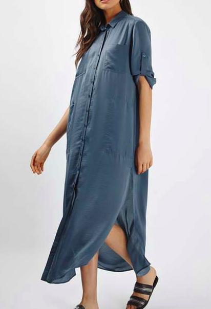 TOPSHOP Washed Satin Maxi Dress