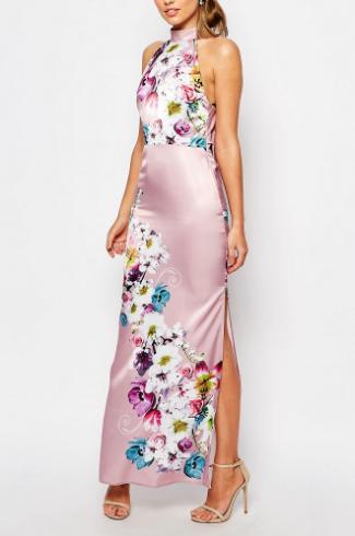 True Violet Sateen Cowl Back Maxi Dress In Floral Print