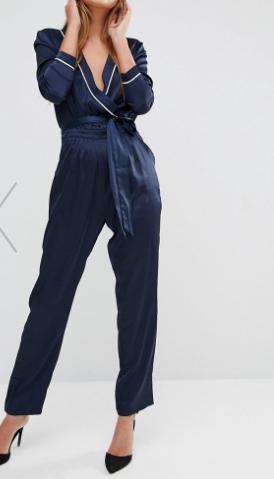 Fashion Union Satin Wrap Front Jumpsuit With Tie Up Waist
