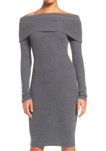 NSR Off the Shoulder Body-Con Sweater Dress