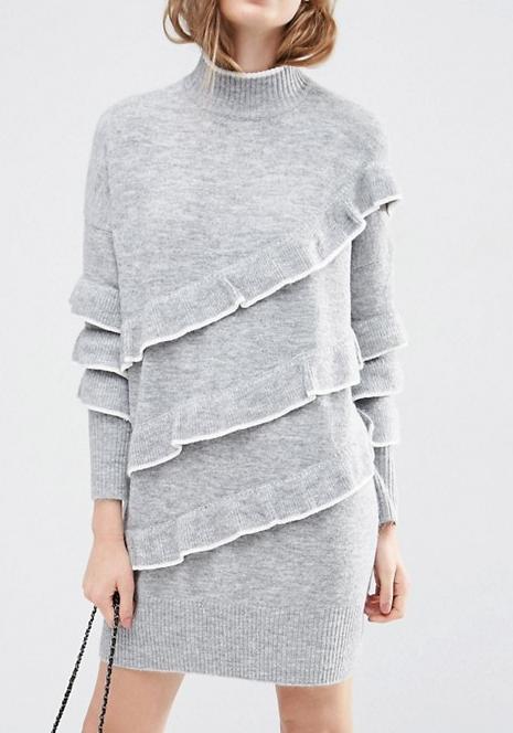 ASOS Sweater Dress with Ruffles