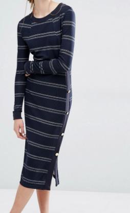 Baum Und Pferdgarten Jana Jersey Midi Dress in Stripe with Button Detail