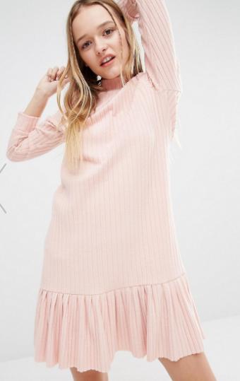 I Love Friday High Neck Dress With Peplum Skirt In Rib
