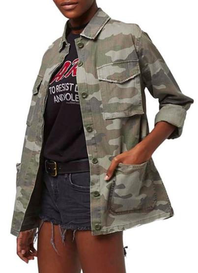 Topshop 'Sandy' Camo Print Shirt Jacket