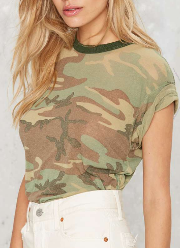After Party by Nasty Gal You Know the Drill Camo Tee