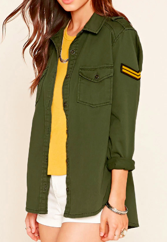 Forever 21 Chevron Patch Utility Jacket