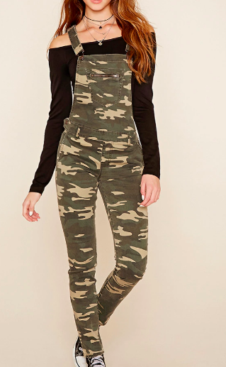 Forever 21 Camo Print Overall Pants