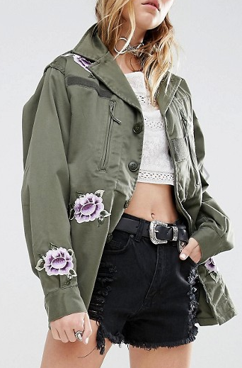 Reclaimed Vintage Military Jacket With All Over Patches