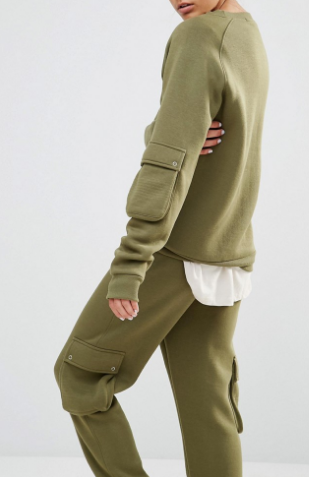 Daisy Street Military Sweatshirt With Arm Pocket Co-Ord