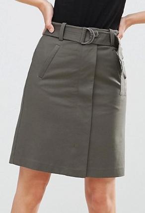 Warehouse Compact Cotton A Line Skirt