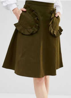Lost Ink Midi Skirt With Large Pockets