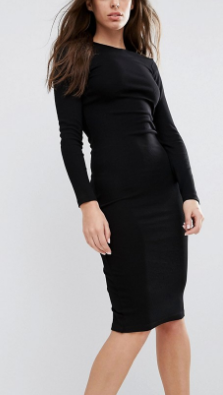 ASOS Midi Body-Conscious Dress in Rib with Long Sleeves