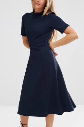 ASOS Textured Midi Dress with High Neck